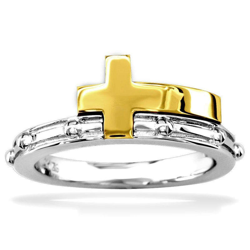 14K Yellow and White Gold Rosary Beads Ring