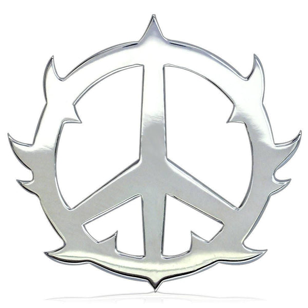Large Guarded Peace Charm in 14K White Gold