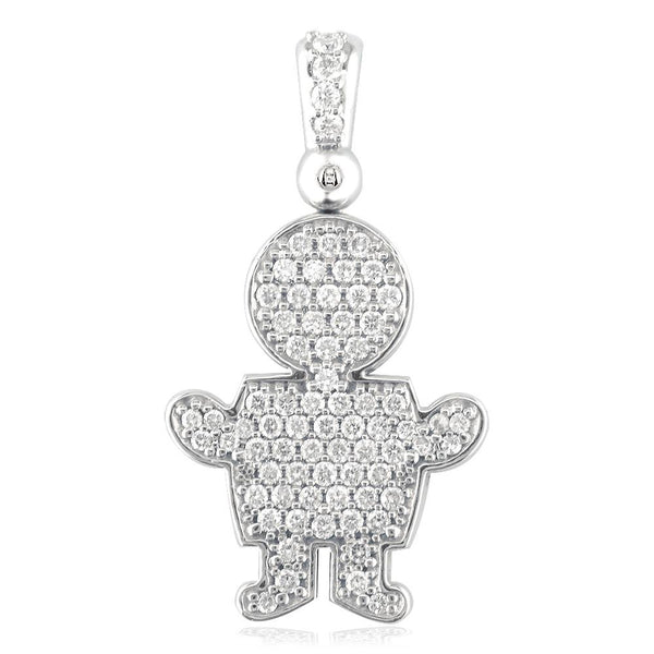 Extra Large Diamond Kids Sziro Boy Pendant for Mom, Grandma in 18k White Gold