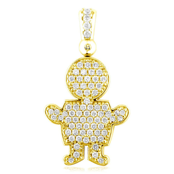 Extra Large Diamond Kids Sziro Boy Pendant for Mom, Grandma in 18k Yellow Gold
