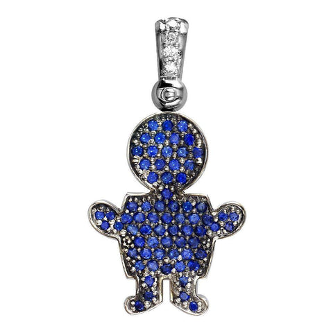 Extra Large Jewel Kids Blue Sapphire Sziro Boy Pendant for Mom, Grandma in 18k White Gold