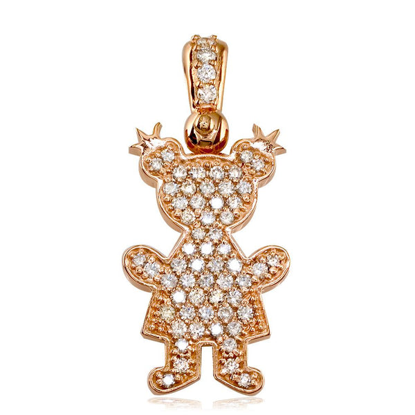 Extra Large Diamond Kids Sziro Girl Pendant for Mom, Grandma in 14k Pink Gold