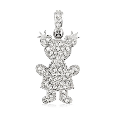 Extra Large Diamond Kids Sziro Girl Pendant for Mom, Grandma in 18k White Gold