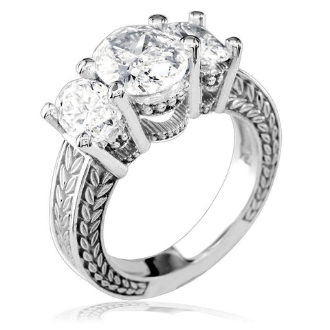 Three Stone Oval Diamonds Engagement Ring Setting, 1.5CT Total Sides in 14k White Gold