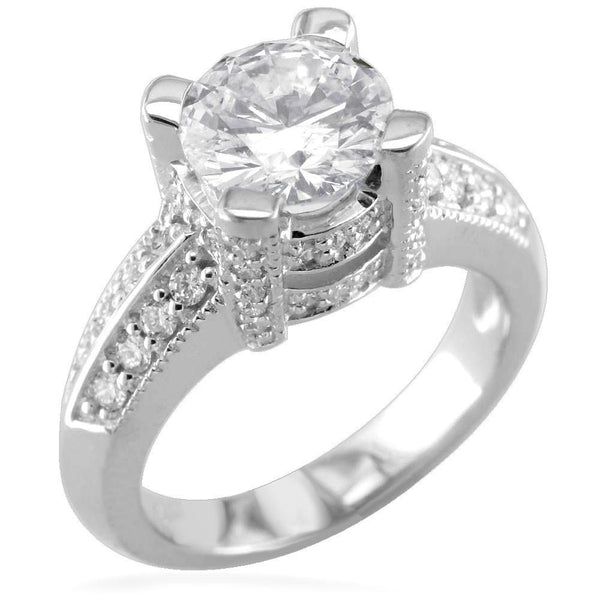 Diamond Engagement Ring Setting, 0.55CT in 18k White Gold