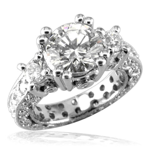 Round Diamond Engagement Ring Setting, 1.6CT Total Sides in 14K White Gold