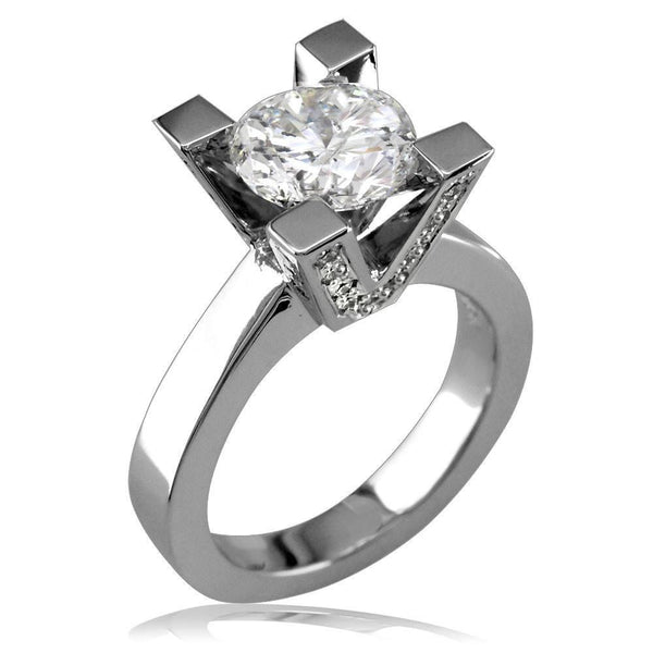 Diamond Engagement Ring Setting with Round Diamond Side Stones On Prongs E/W-Z2943Pl