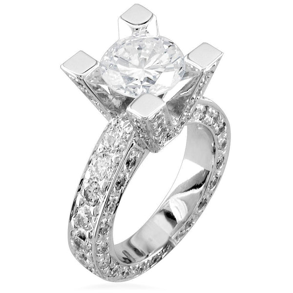 Round Diamond Engagement Ring Setting in 14K White Gold, 1.5CT Total Sides
