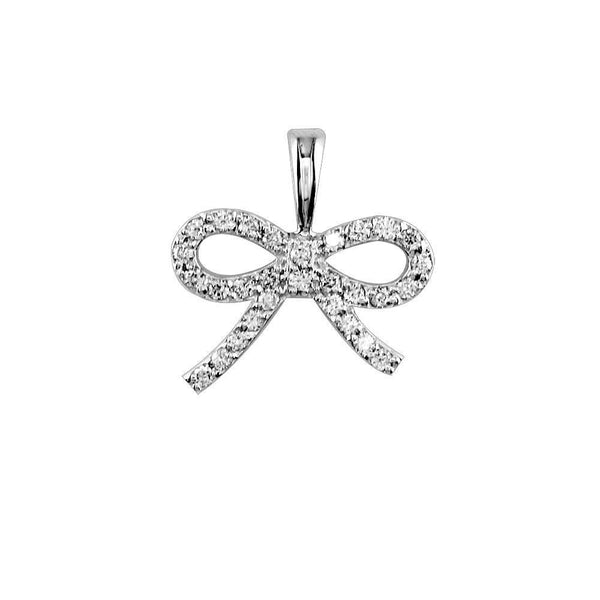 Mini Diamond Bow Pendant in 18K
