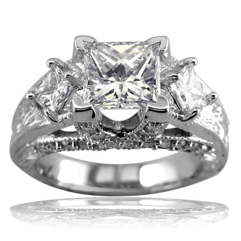 Three Stone Princess Cut Diamonds Anniversary Ring Setting, 1.10CT in 14k White Gold