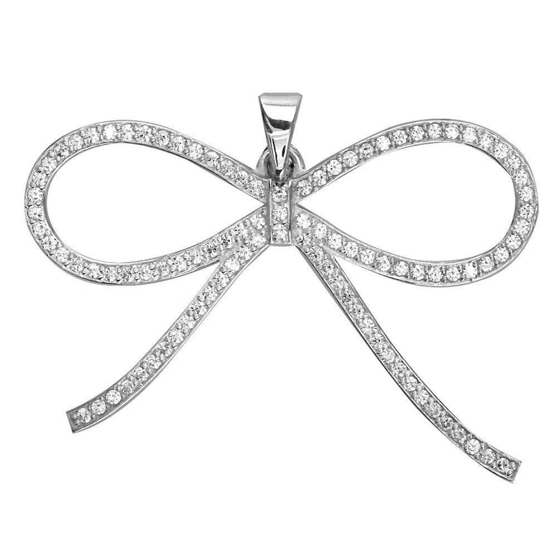 Cubic Zirconia Bow Pendant, 30mm in Sterling Silver