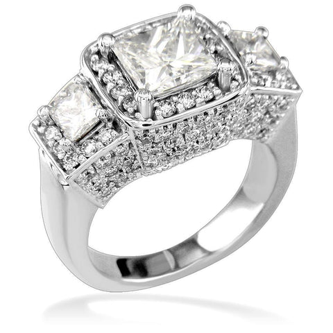 Three Stone Halo Princess Cut Diamonds Anniversary Ring Setting, 1.75CT in 14k White Gold