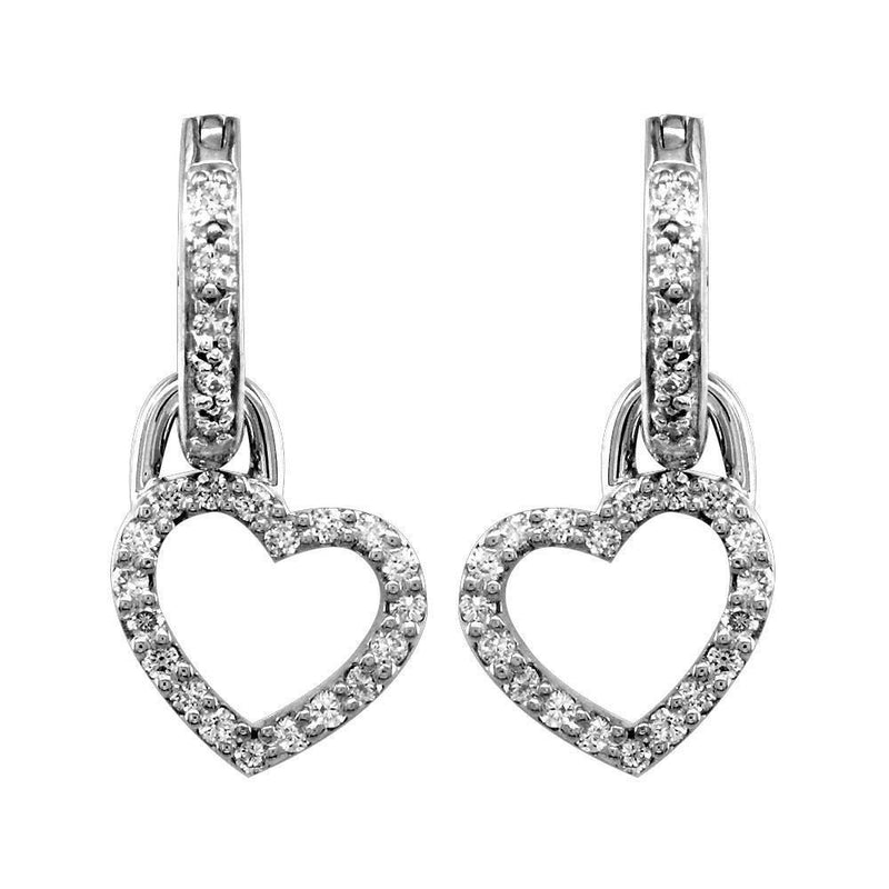 Small Diamond Heart and Hoop Earrings, 0.90CT