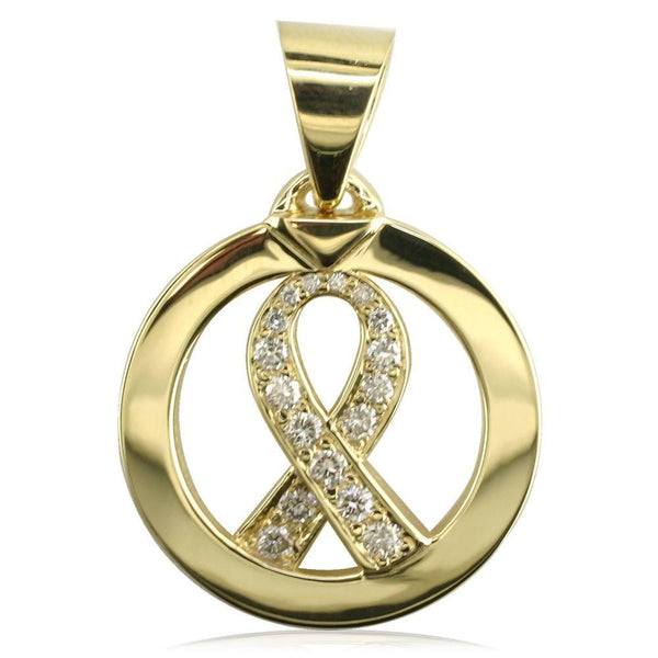Diamond Bow in Open Circle Pendant P-Z3031