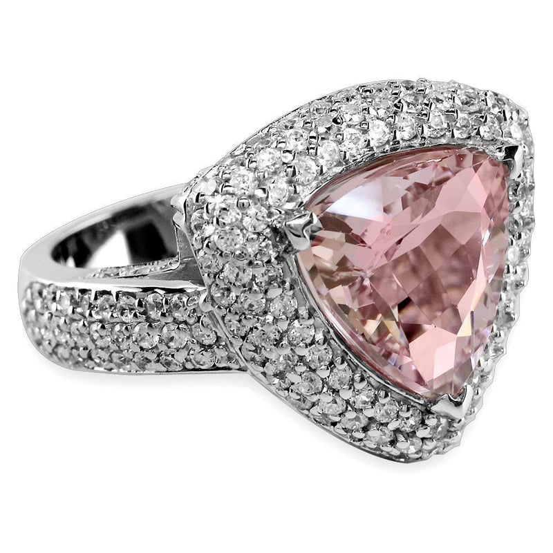 Ladies Large Trillion Shape Morganite and Diamond Ring in 18K
