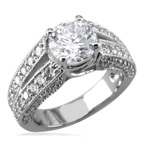Round Diamond Engagement Ring Setting in 14K White Gold, 1.50CT Total Sides