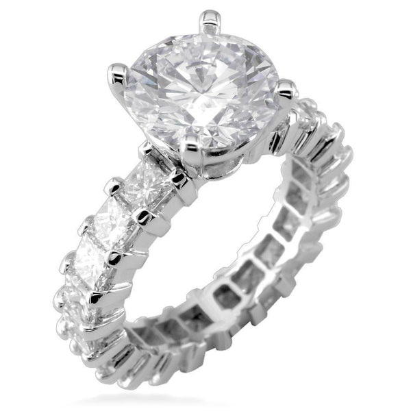 Round Diamond Engagement Ring Setting in 14K White Gold, 2.5CT Total Princess Cut Sides
