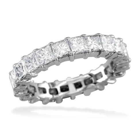 Princess Cut Diamond Eternity Band, 2.7CT in 14k White Gold
