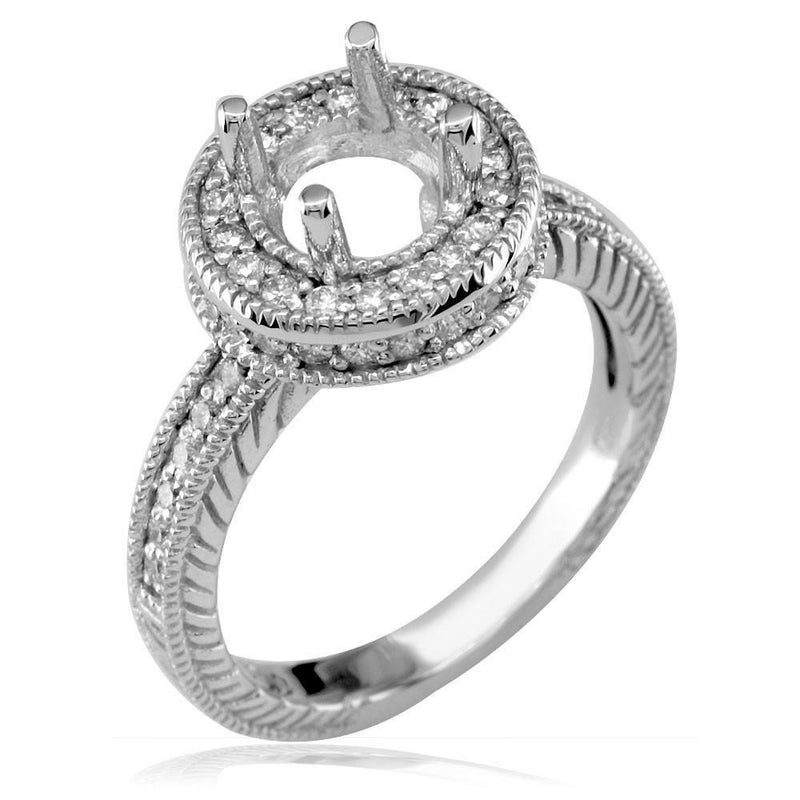 Diamond Engagement Ring Setting, 0.50CT in 18k White Gold