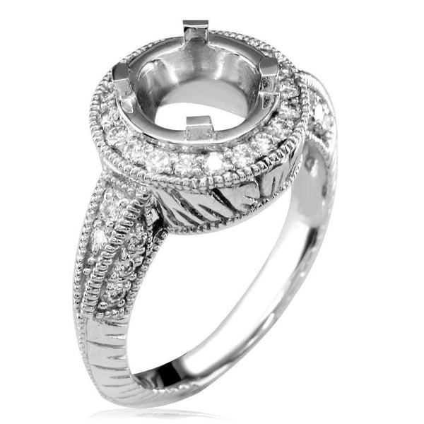 Diamond Engagement Ring Setting, 0.45CT in 18k White Gold