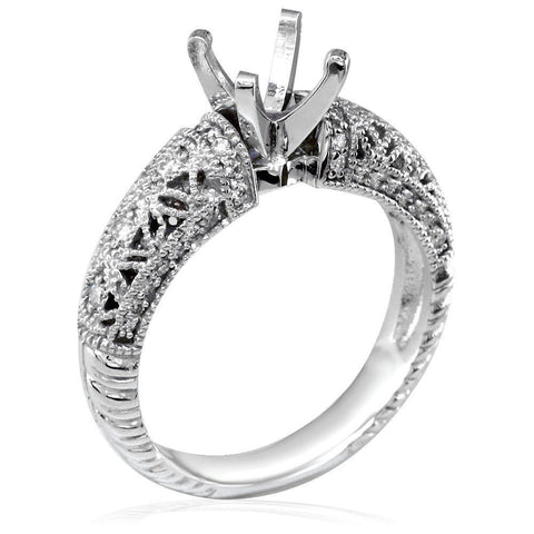 Diamond Engagement Ring Setting in 18K White Gold, 0.25CT Sides