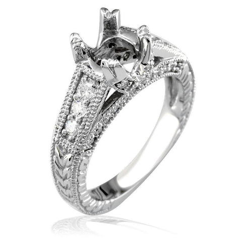 Diamond Engagement Ring Setting in 14k White Gold, 0.50CT