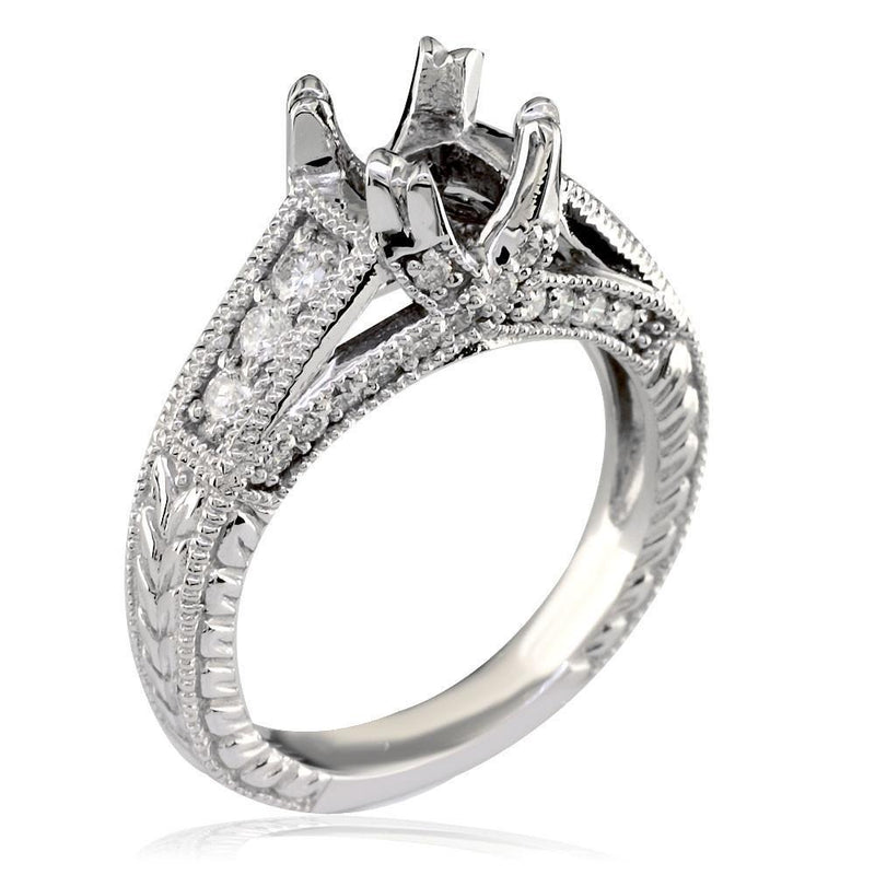 Diamond Engagement Ring Setting in 18k White Gold, 0.50CT