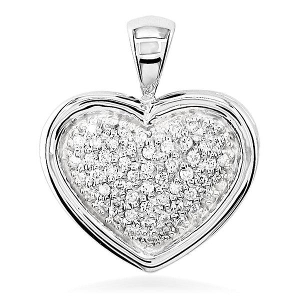 Diamond Filled Heart Pendant in 18K