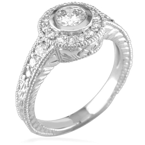 Complete Round Diamond Halo Engagement Ring in 14K White Gold, 0.45CT Center