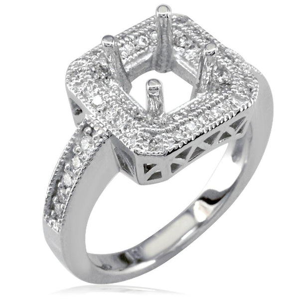 Large Diamond Engagement Ring Setting, 0.50CT in 18k White Gold