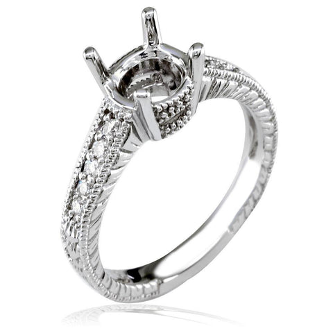 Diamond Engagement Ring Setting, 0.12CT in 18k White Gold