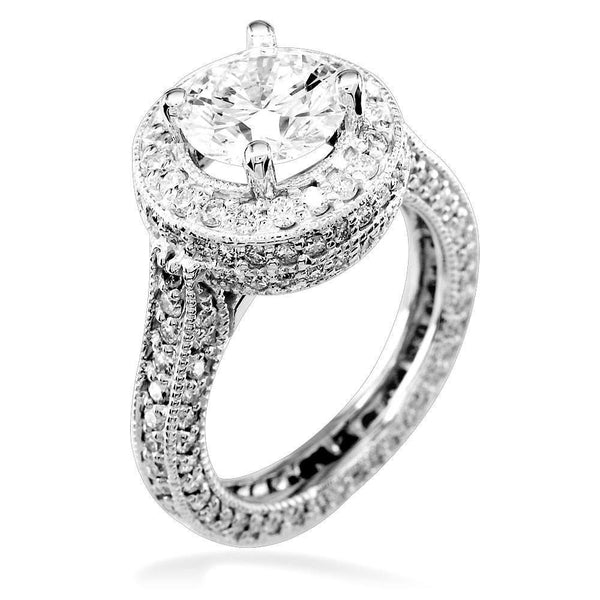 Diamond Engagement Ring Setting in 18K, 1.90CT Total Sides