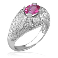 Oval Pink Tourmaline and Diamond Ring in 18K White Gold
