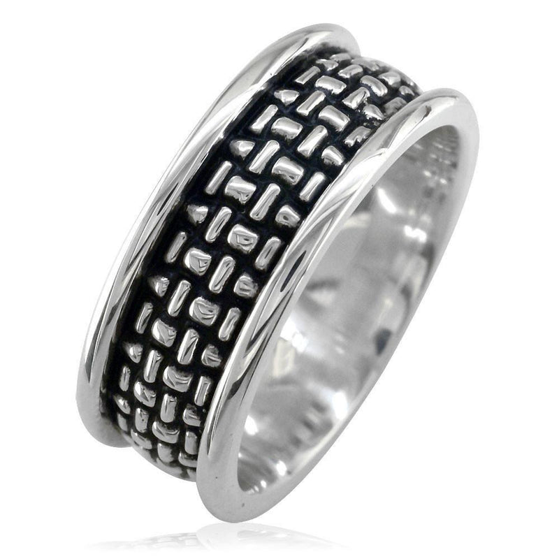 Woven Band with Black Finish, 9mm, Sterling Silver