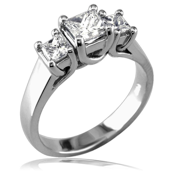 Complete 3 Stone Princess Cut Diamonds Anniversary Ring, 1.0CT in 14k White Gold