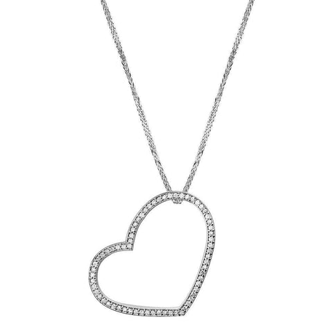 Large Thin Open Cubic Zirconia Heart and Chain in Sterling Silver