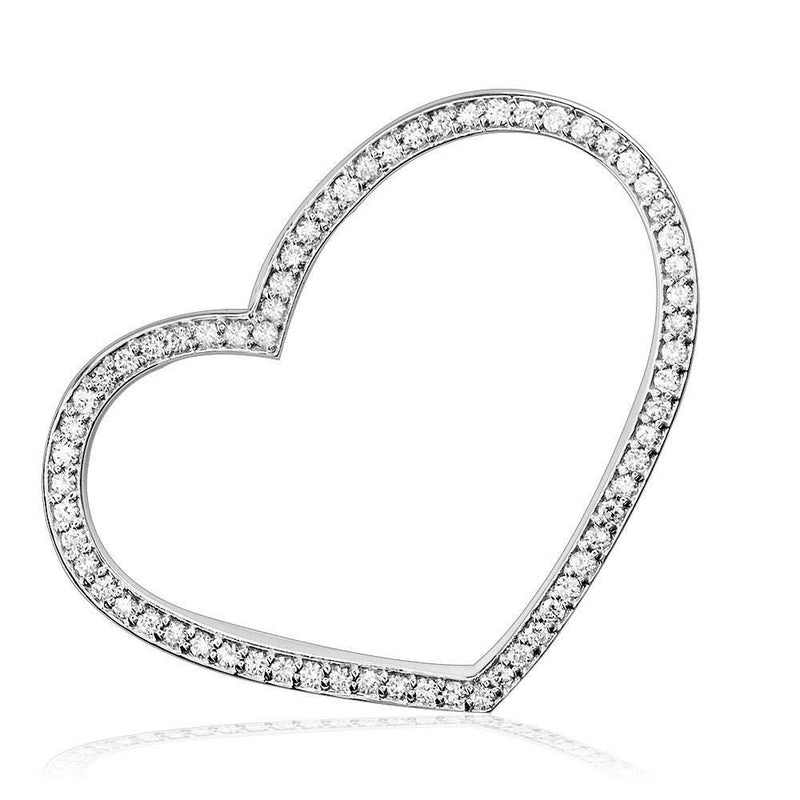 Large Thin Open Diamond Heart, 1.00 CT