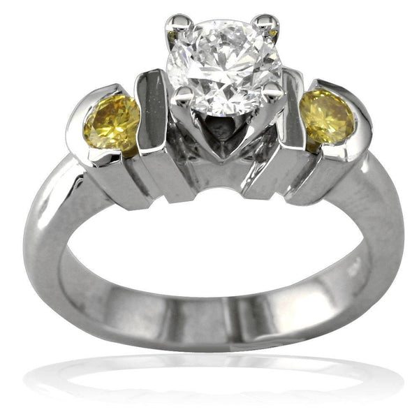 Complete Round Diamond and Yellow Sapphire Engagement Ring in 14K White Gold, 0.30CT Center