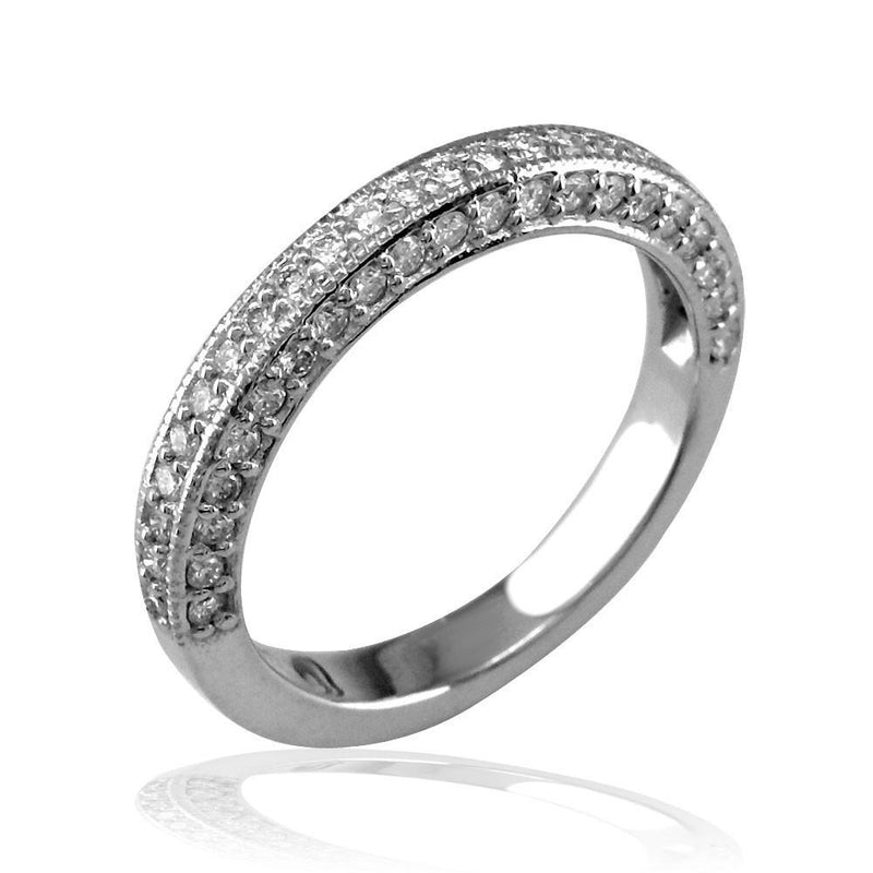 Diamond Wedding Band in 18K White Gold, 0.65CT
