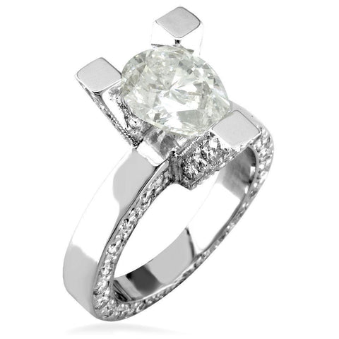 Pear Shape Diamond Engagement Ring Setting in 14K White Gold, 1.5CT Total Sides
