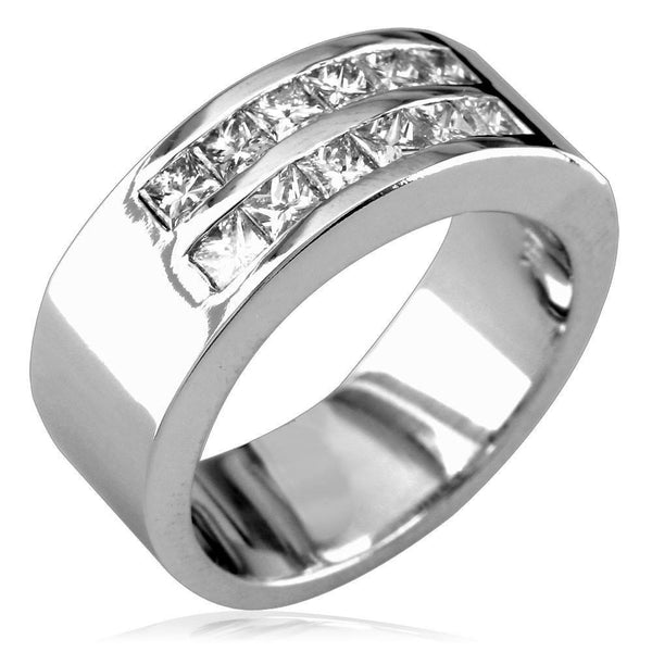 Band with 2 Rows Of Channel Set Princess Cut Diamonds LR-Z3338