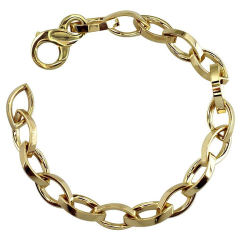 Flat Edge Marquise Link Bracelet in 14k Yellow Gold
