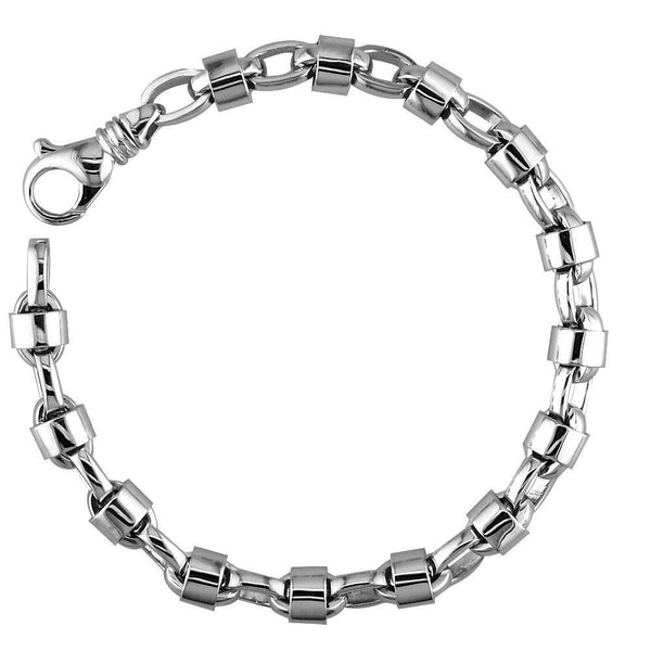 Mens Oval Link Bracelet with Round Jackets in Sterling Silver