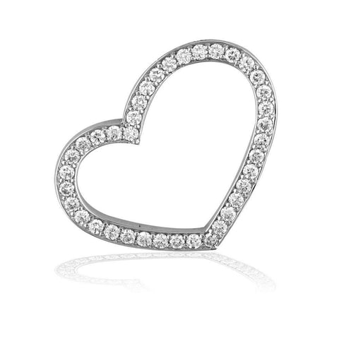 Open Diamond Heart Pendant with Bigger Diamonds