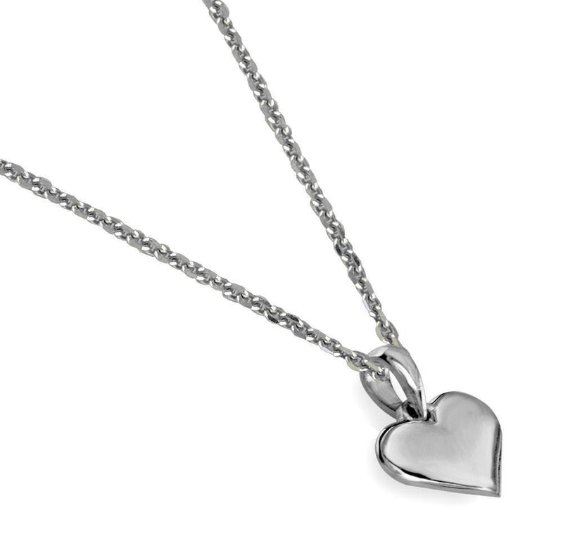 Small Amor Engraved Heart Charm and Chain in Sterling Silver