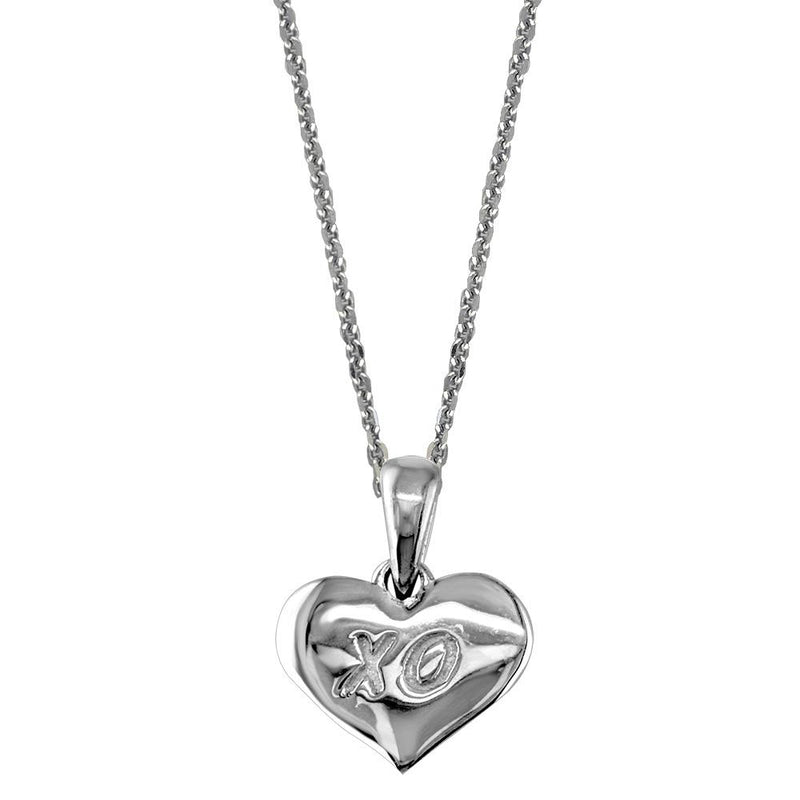 Small XO Engraved Heart Charm and Chain in Sterling Silver
