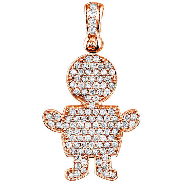 Jumbo Diamond Kids Sziro Boy Pendant for Mom, Grandma in 18k Pink Gold