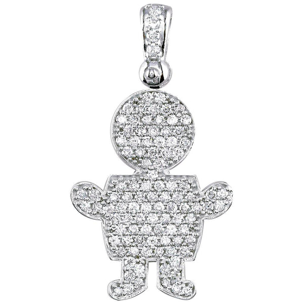Jumbo Diamond Kids Sziro Boy Pendant for Mom, Grandma in 18k White Gold