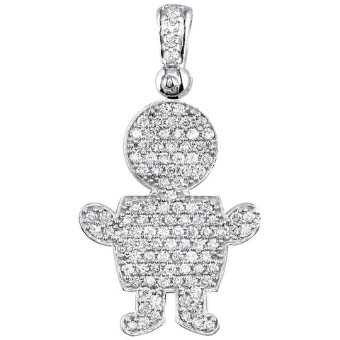 Jumbo Diamond Kids Sziro Boy Pendant for Mom, Grandma in 14k White Gold