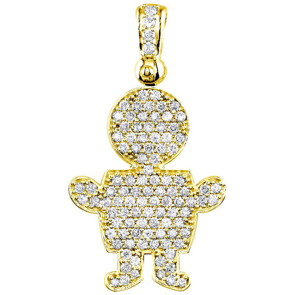 Jumbo Diamond Kids Sziro Boy Pendant for Mom, Grandma in 18k Yellow Gold
